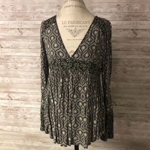 Free People Floral Bell Sleeve Tunic Top SZ S